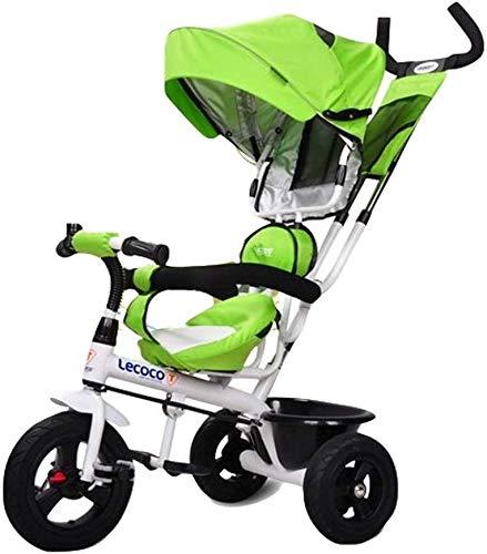 WLD Kinderfiets, Kinderdriewieler Baby Fiets Trolley Kids driewieler met Awning Dubbele Putter Remsysteem met Bell 1-3-6 Jaar Oude Fiets
