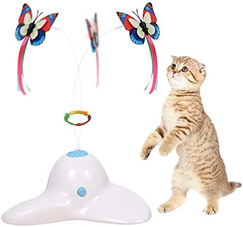 BUYTER Juguete Interactivo para Gatos Giratorio Eléctrico de Mariposa Giratoria Puzzle Mascota Tease Poste (Blanco)