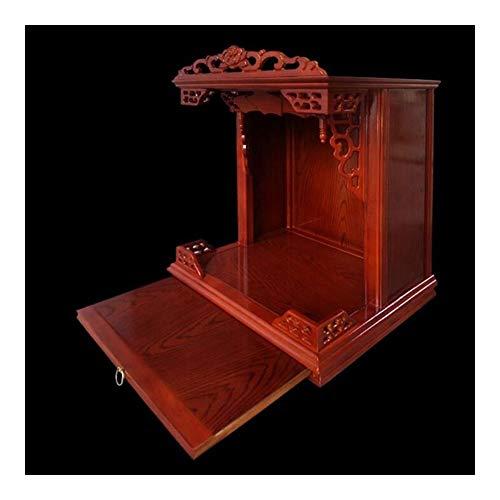 Buddha-Altar Regal for Wand, Haus Altar Kabinett Wand Fest Kleine Holz Buddhist Altar Hängeschrank Buddha-Altar, Geeignet for Platz Ihre Spiritual Dekoration