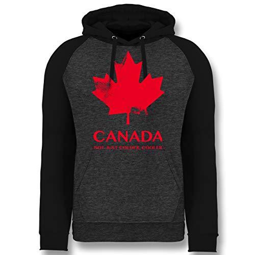 Shirtracer Länder - Canada Vintage Not just Colder Cooler - XL - Anthrazit meliert/Schwarz - Coole Sweater - JH009 - Baseball Hoodie