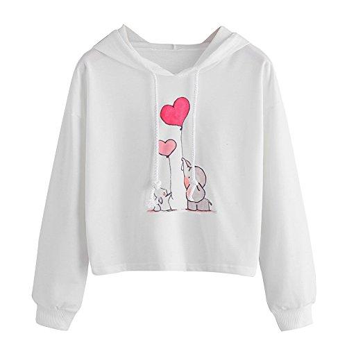 Damen Hoodie Weiß Kapuzenpullover Mit Kaninchen Elefant Drunken Langarm Pulli Casual Pullover Bequem Pulli Loose Fit Basic Sweatshirt Einfarbig Langarmshirt Tops