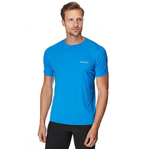 Columbia T-shirt à Manches courtes Homme, ZERO RULES SHORT SLEEVE SHIRT, Polyester, Bleu (Hyper Blue), Taille: S, AM6084