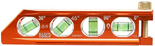 Klein Tools 935AB4V Level, Torpedo Level is a Magnetic Conduit Level with 4 Vials, V-Groove and Magnet Track, High Viz Orange
