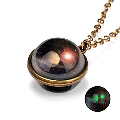 Janly Clearance Sale Womens Necklaces & Pendants, Glow In The Dark Galaxy System Double Sided Glass Dome Planet Necklace Pendant, Jewelry & Watches for Christmas Valentine's Day (C)