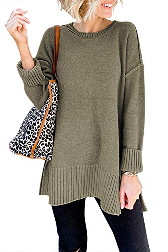 MEROKEETY Women's Casual Crew Neck Side Split Pullover Sweater Loose Long Sleeve Jumper Top, Green, S