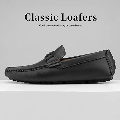 BRUNO MARC NEW YORK Men's Hugh-01 Black Faux Leather Driving Penny Loafers Boat Shoes – 13 M US