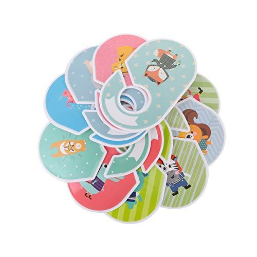 Cabilock Baby Kleiderschrank Trenner Set Kunststoff Cartoon Tier Design Baby Schrank Größenteiler Kleiderbügel Trennwände für Kinderzimmer Schrank Organizer 12 Stück (Zufälliger Stil)