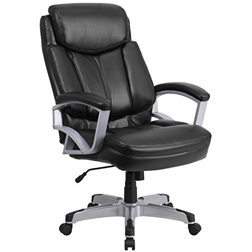 Flash Furniture HERCULES Series Big & Tall 500 lb. Rated Black LeatherSoft Executive Swivel Ergonomic Office Chair with Arms