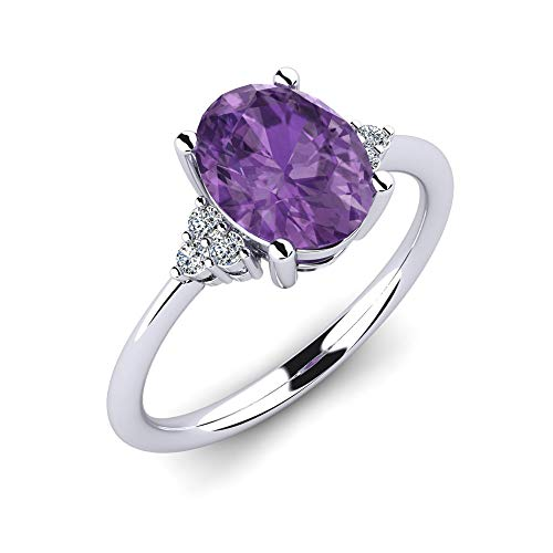 925 Silberring Loise mit Amethyst 1,62 ct AAA Qualität und 6 Swarovski Kristalle - Ring zur Verlobung oder als Schmuck - Premium Vorsteckring oder Silberschmuck als Geschenk für Frauen