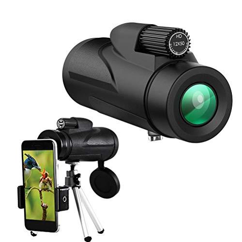 Telescopio Monocular HD 12x50, Telescopio Monocular para Adultos, Monocular de Prisma BAK4 con Trípode, Monocular Antiniebla Resistente al Agua para Observación de Aves Silvestres Camping Senderismo