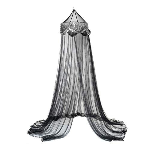 OctoRose Sequins Bed Canopy Mosquito Net Bed, Dressing Room, Out Door Events (Black)