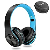 Dozod Bluetooth Over Ear Headphones, Wireless Foldable Hi-Fi Deep Bass Headset with Mic, Wired/SD Card Headphone with Volume Control for iPhone/iPad/Samsung/PC (Black/Blue)
