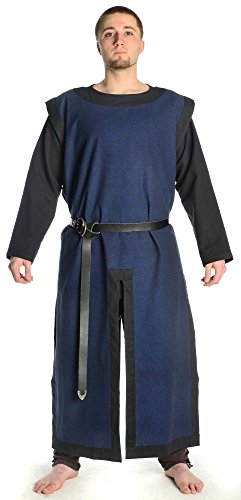 HEMAD Waffenrock Ritter Mittelalter Baumwolle blau mit schwarzen Rand