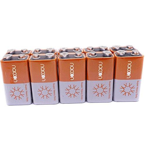 9V Carbon-Zinc Super Heavy-Duty Battery Single Time Use 6F22 Block (10 Batteries)