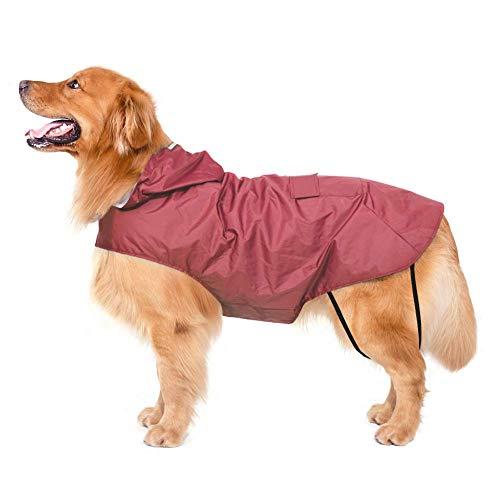 Bwiv Impermeabile per Cani Extra Large con Cappuccio con Strisce Riflettenti Giacca Antipioggia per Cani 100% Impermeabile Rosso 5XL