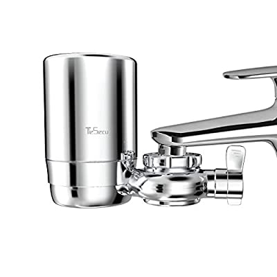 TESECU Tap Faucet Water Filter Kitchen, Long-Lasting Water Faucet Filter System Remove Lead, Fluoride & Chlorine, BPA Free, Fits Standard Faucets, Chrome