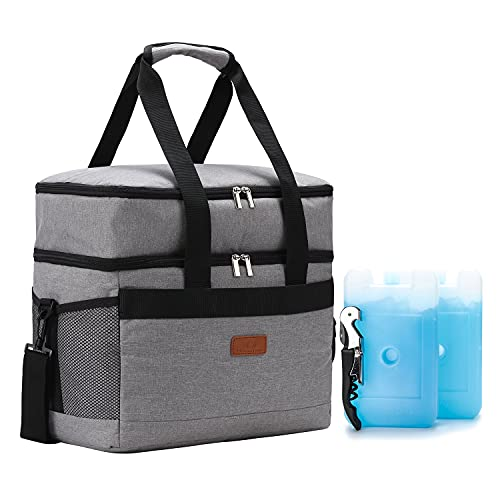 REALER Kühltasche,31L große Faltbare Kühlbox mit Flaschenöffner und Kühlakku, wasserdicht als Isoliertasche Picknicktasche lunchtasche Thermotasche Cooler Bag für Camping Reise Strand Grill Angeln