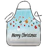 YSFWL Delantales de Navidad, Delantales Impresos Chef Navidad Impermeable para Cocinar Fiesta Delantal de Navidad Cafetería, Restaurente, Cocinar Hornear Unisex Delantal Navidad
