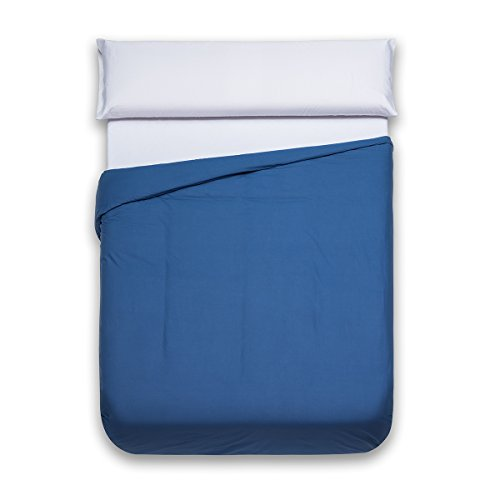 Sancarlos - Funda nórdica lisa, 100% Algodón, Color azul marino, Cama de 135 cm