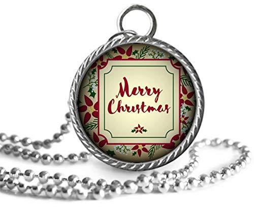 Elf House Halskette mit Weihnachtsstern, Stechpalmen und grünen Pflanzen, mit Glaskuppel