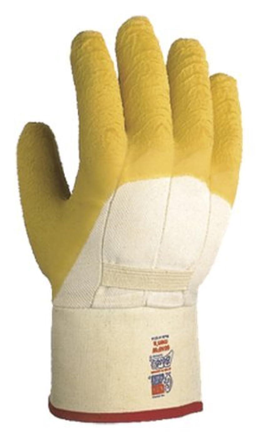 微弱に渡ってマイクロフォンShowa 66?NFW手のひらコーティング天然ゴム手袋、綿ポリエステルフランネルライナーSanitized強化安全、袖口、一般的な目的作業, Large ( Pack of 12ペア) by Showa Bestグローブ