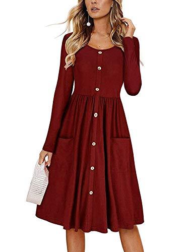 MISSLOOK Damen Langarm Kleid T Shirt Swing Kleider Casual Flare Midi Kleid mit Taschen - Rot - X-Groß
