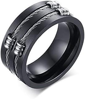 خاتم مجوهرات أصلي من الفولاذ المقاوم للصدأ خاتم أسود للرجال خاتم الذيل الدائري