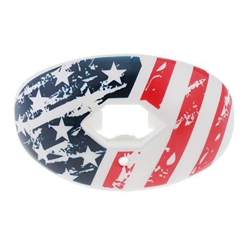 APJJ Fußball Mundschutz, Lippenschutz Für Fußball Mit Gurt (Fußball/Lacrosse/Eishockey) - Geschnallter Mundschutz Für Fußball, Eishockey, Lacrosse, College Football (/ W Vented Case),American Flag