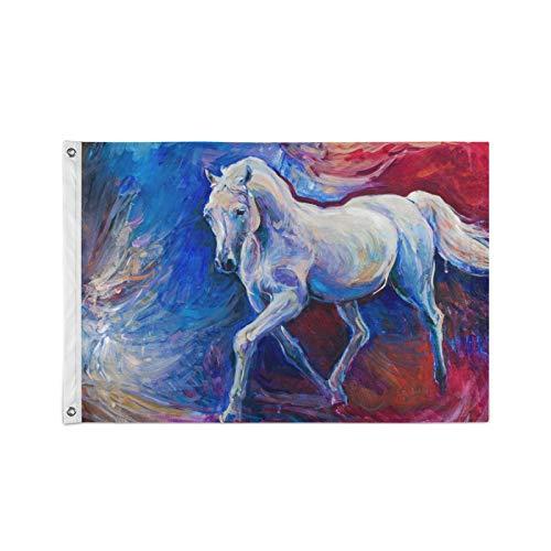 Ahomy 90 x 150 cm große Flagge, lebendige Farben & UV-widerstandsfähig, Wasserfarben-Pferde-Flagge, Polyester mit Ösen, 90 x 150 cm