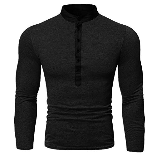 Hombres T-shirt otoño falso dos V-cuello manga larga camiseta de los hombres multi botón base de la camisa de los hombres superior