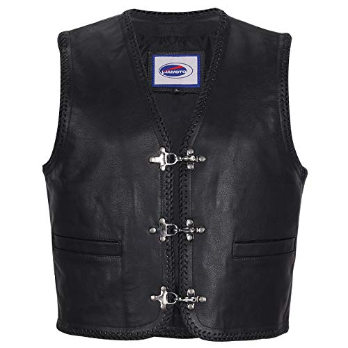 IXIA MOTO Chaleco de cuero para hombre, chaleco de motociclista, chaleco negro estilo club (L)