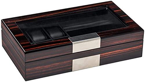 Caja de almacenamiento para relojes, ébano, caja de almacenamiento clásica para joyas, puede contener 6 relojes + 3 pares de gafas, 35 x 20 x 8 cm