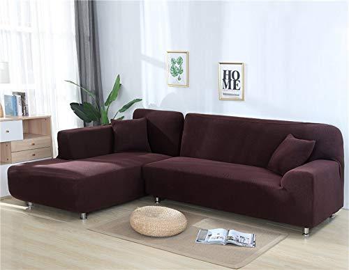 ASCV Fundas de sofá Lisas para Sala de Estar Funda de sofá de Forro Polar elástico Funda de sofá de Esquina Funda Protectora de sofá seccional en Forma de L A4 2 plazas