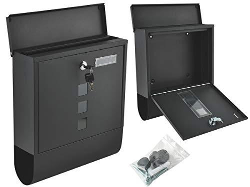 MALATEC Briefkasten Zeitungsfach Schwarz 2 Schlüssel Sicherungsklappe Modern 6244