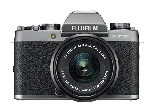 Fujifilm Kit X-T100 Fotocamera Digitale 24MP (APS-C), Mirino EVF, Schermo LCD Touch da 3' Inclinabile a 180°, WiFi e Bluetooth + XC 15-45mm F/3.5-5.6 OIS PZ MILC, 24.2MP, CMOS, Argento Scuro