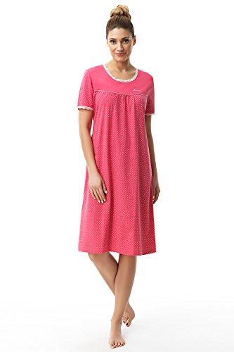 e.FEMME Damen Nachthemd Dolly 1658 mit Kurz Arm aus Reiner und Weicher Baumwolle in Farbe Amarantrot in Größe 40