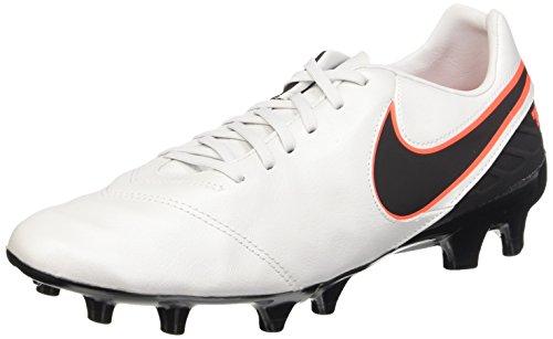 Nike Herren Tiempo Mystic V Fg Fußball-Ausrüstung, Weiß / Schwarz / Orange (Pure Platinum / Schwarz-HYPR Orng), 42.5 EU / 9 US