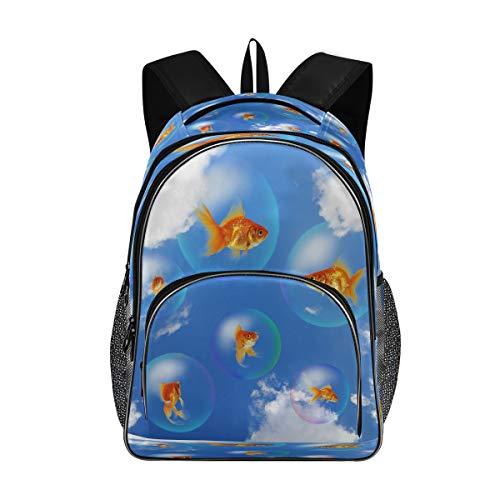 Mnsruu Goldfish Aquarium Bubble Rucksack Schule College Tasche Laptop Reise Daypack für Männer Frauen