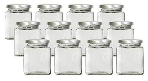 mikken 12x Gewürzglas Einmachglas eckig 212 ml mit Beschriftungsetiketten