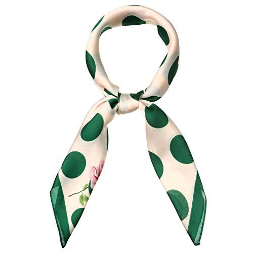 Allegra K 70cm Polka Dot Square Scarf Neck Scarves Kerchief Neckerchief Headband for Women Green