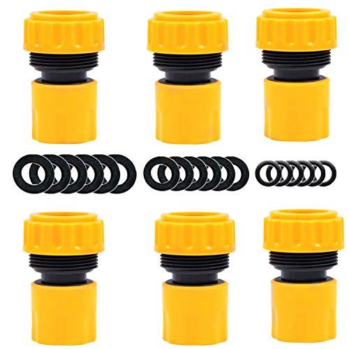 """YAAVAAW Paquete de 6 conectores de extremo de manguera – conexión rápida para manguera de 19 mm 3/4 \""""conector rápido de extremo de grifo de manguera (viene con 18 arandelas de sellado de reemplazo)"""