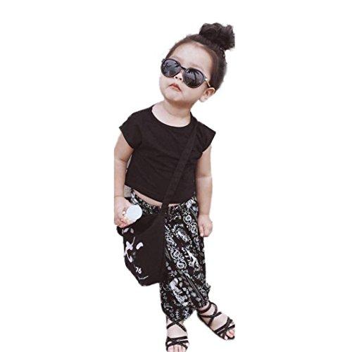 Bonjouree Pantalons et Tee-Shirts Fille Hauts Manches Courtes et Pantalon Imprimé Éléphant Ete pour Enfant Fille 3-6 Ans (Noir, 5 Ans)