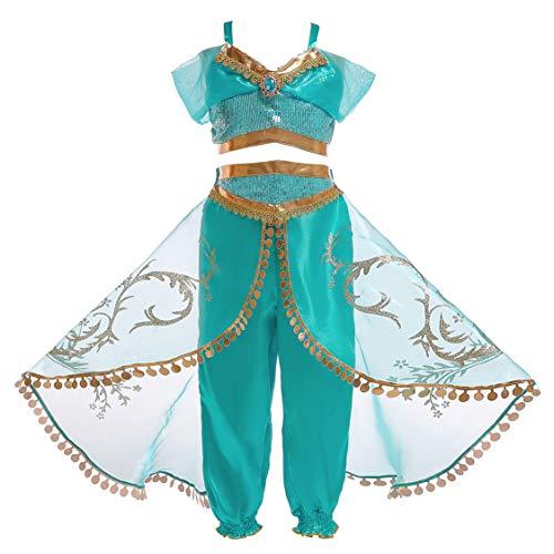 Eleasica Cosplay Princesa Jasmine Vestido de Princesa Pantalon y Blusa Fiesta Disfraz Jazmin Baile Danza del Vientre Pelicula Aladdin y Lampara Magica para Regalo Cumpleaños Niñas 3 a 10 años