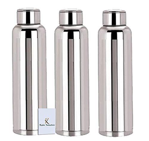 Kuber Industries Stainless Steel 3 Pcs Fridge Water Bottle/Refrigerator Bottle/Thunder(1000 ML)-CTKTC6003