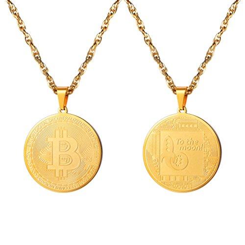 PROSTEEL Herren Anhänger Halskette 18k vergoldet Edelstahl Bitcoin Gedenkmünze BTC Physische Münze Kryptowährung Geschenk für Männer Frauen