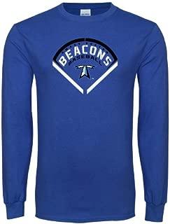 CollegeFanGear UMass Boston Royal Long Sleeve T Shirt 'Beacons Baseball Stencil Diamond'