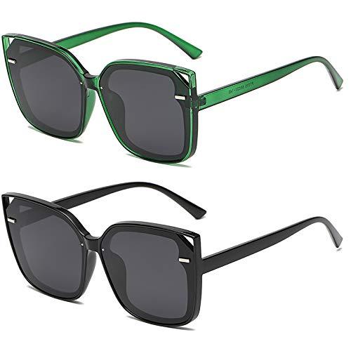 HFSKJ Pack de 2 Gafas de Sol, Gafas de Sol polarizadas Conducir y Conducir Gafas protección UV Las Gafas de uñas de arroz Retro de Moda Son adecuadas para Hombres y Mujeres,B