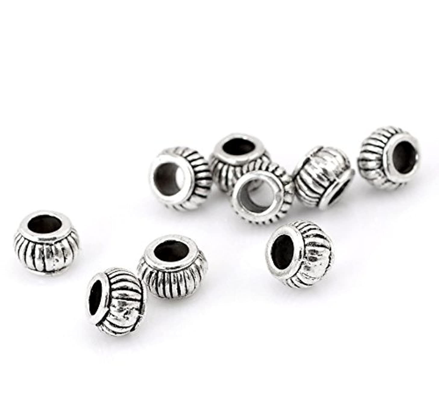 100pc Antiqued Silver Spacer Beads Large Hole Beading Supplies [Office Product]