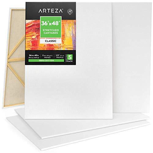 Arteza Leinwand Keilrahmen, 91.4 x 121.9 cm, 5 bespannte Keilrahmen, 100% Baumwolle grundiert mit säurefreiem Titan-Acryl-Gesso, Leinwände für Acrylmalerei, Ölfarben &...