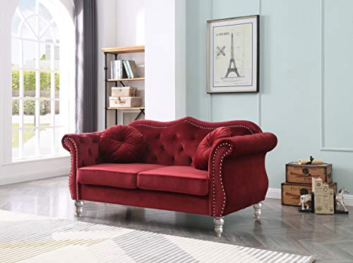 Glory Furniture Hollywood Loveseat Love Seats, Burgundy
